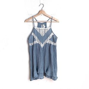 UMGEE light blue crinkle fabric lace tunic tank